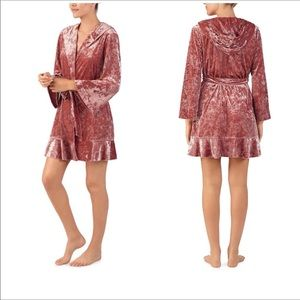 New Betsey Johnson Crushed Velvet Robe with Hoodie